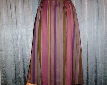 "Vintage 70's - J G Hook - Vertical Stripe - Wool - Fitted - Boho - Skirt - 27"" Waist"