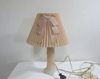 Frosted Glass Lamp with Pleated Lampshade Boudoir Light Peachy Pink