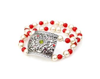 Goddess Bracelet , Pearl Bracelet,  Red Bracelet, Silver Bracelet, Art Deco, High Fashion Style, Double Strand Statement Bracelet Mei Faith
