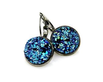 SUMMER SALE Druzy Earrings Blue Green Druzy Shimmer Sparkle Earrings Petite Dangle Everyday Wear Sleek Lush Modern High Fashion Style