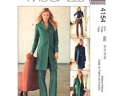 Womens Jacket Skirt & Pants Pattern McCalls 4154 Long Jacket Princess Seams Wardrobe Trouser Suit Womens Sewing Pattern Size 8-14 or 12-18