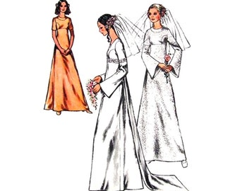 Vintage 70s Wedding Dress Pattern Style 3123 Empire Dress Flared Sleeve Train Bridesmaid Dress Womens Sewing Pattern Bust 34