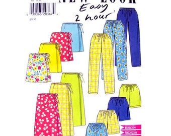 Easy Pull On Pants, Shorts, Wrap Skirt Pattern New Look 6637 Womens Size 8 to 18
