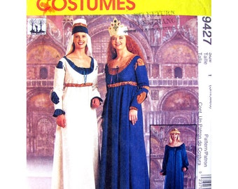 Renaissance Maiden Costume Pattern McCalls 9427 Theater Costume Womens Sewing Pattern Size 8 10 12 14