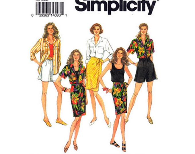 Shirt, Tank Top, Shorts, Sarong Skirt Sewing Pattern Simplicity 8432 Size 6 8 10