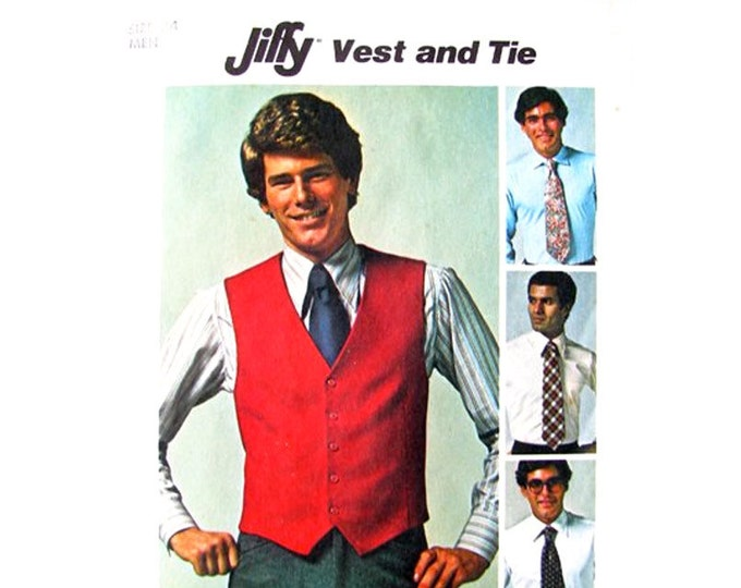 Mens Vest & Tie Pattern Simplicity 7701 Lined Waistcoat Size 34 Chest Vintage Pattern