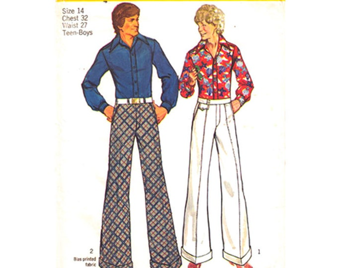 1970s Retro Shirt, Bell Bottom Pants Pattern Simplicity 5656 Trousers Teen Boys Size 14
