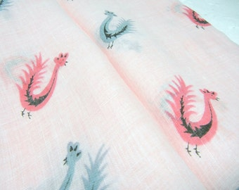 Pink Rooster Hankie / Faith Austin vintage Hanky with Pink and Blue Roosters / rolled edge / designer scarf / mid century / retro chic