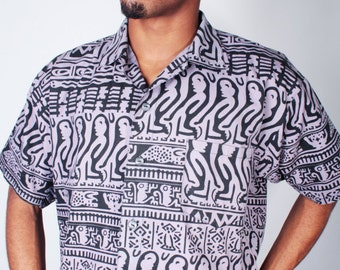 Vintage 90s Purple and Black Ethnic AZTEC Print Short Sleeve Oxford Shirt Made in MEXICO // Mens Vintage Vintage (sz M)