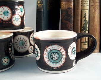 Pottery coffee mug - tea mug - hand made - Dandelion design - wheel thrown - red earthenware - ceramic clay - holiday shopping