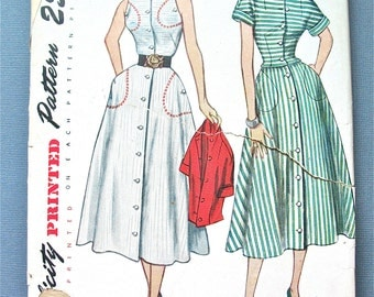 Uncut 1950s Simplicity 3155 Misses' One Piece Dress and Jacket  Vintage Sewing Dress Pattern dart-fitted sleeveless bodice    Bust 32