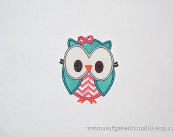 "Embroidered Iron On Applique- ""Cheveron Big Eyed Owl"""