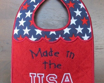 Machine Embroidery Design-ITH-Baby Bib-Made in the USA for 5x7 hoop.