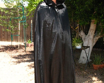 Light Weight Textured Black Satin Witches Hooded Cloak~Pagan~Wicca Ritual Wear~Renaissance Faire Costume
