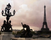 Paris Photography, Pont Alexandre Bridge, River Seine, Eiffel Tower Cherub Lanterns, Paris Romantic Bridge, Eiffel Tower Bridge Street Lamps