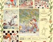 Alice In Wonderland Digital Collage Sheet, Children's Book Illustrations, Instant Download Vintage Printables
