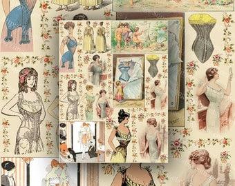 Ladies in Corsets Digital Collage Sheet Vintage Color  Illustrations Instant Printable Download