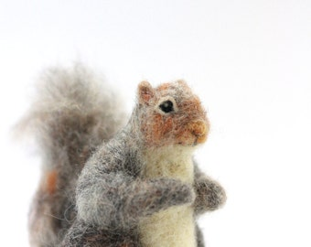 Felted Woodland Miniature Squirrel, Felted Squirrel Standing Figure