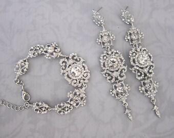 Vintage Style Statement Bridal Earrings, Weddings Earrings, Crystal Chandelier Earrings, Hollywood Chandelier Earrings  - 'MARINA'