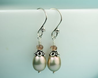 Pearl Drop Earrings with Andalusite stones, Sterling Silver Hook and Bead Caps, colored  freshwater pearls, Modern Pearl Jewelry, by art4ear