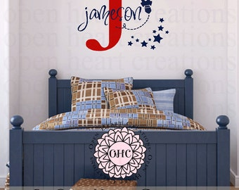 Space Wall Decal with Initial and Name Monogram - Rocket Name Wall Decal - Boys Nursery Space Art - Rocket Ship Decals 22H x 32W INA0077