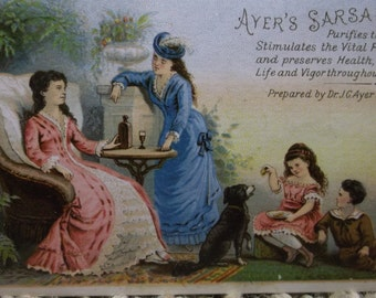Ailing Lady in Lovely Pink Dress and Cute Kids w/ Dog - Victorian Trade Card - Ayer's Sarsaparilla - 1800's