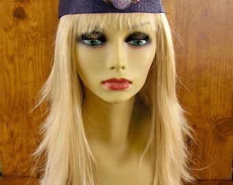 "Celtic Mandala, Purple deerskin leather tiara headband with glass and brass charm, turkey feathers and trade beads, 20"" adjustable, handmade"