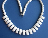 Vintage white Milkglass Summer necklace fringe style 1960s