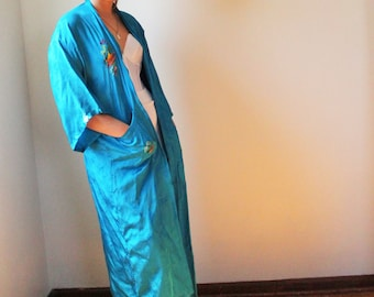 Vintage 60's Asian Royal Blue Rayon Kimono Style Robe