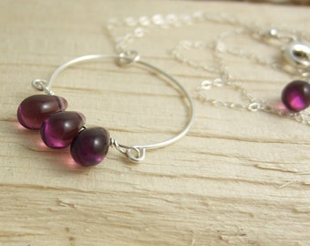 Necklace with a Half Circle and Dark Purple, Glass Teardrops CDN-593