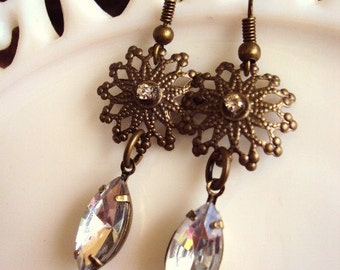 Vintage Style Bohemian Earrings Rhinestones Antique Brass Medallions