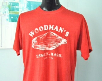 Rare Burnout Tshirt Woodmans Essex Ma Clams Oysters Super Soft Thin Red Tee XL