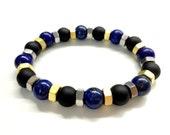 Cool Men's Bead Bracelet. Stone Jewelry. Black Onyx, Blue Lapis Stone, Hex Nut Bracelet. Stretch Bracelet. Elastic Bracelet. Boyfriend Gift
