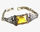 Citrine Glass and Sterling Silver Filigree Bracelet