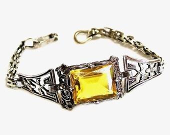 Citrine Glass and Sterling Silver Filigree Short Bracelet