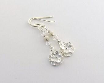 Sterling Silver Flower Earrings - White Czech Glass Earrings - Swarovski Earrings - Crystal Earrings - Silver Earrings - Sterling - E102