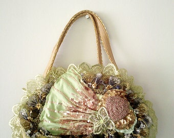 vintage inspired purse, handmade purse, small green purse, green lace purse, appliqued bag, green upcycled purse, gypsy hippy bag