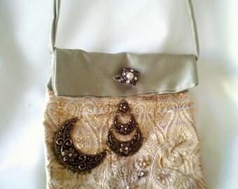 green festival bag, elven bag, gold purse, moon handbag, hippy bag, gold brocade, antique button, applique bag