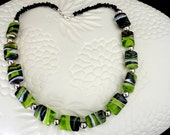 Green Black and White Art Glass Beaded Necklace