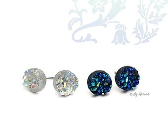 Faux Druzy Stainless Steel Post Earrings, Two Pair Set, 8mm Clear Glitter and Black,Blue, & Teal Multi Studs, Gift