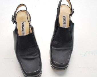 90s black platform shoes. VOGUE Shop shoes. sling back heels. platform sandals - eur 36 us 6 uk 3.5