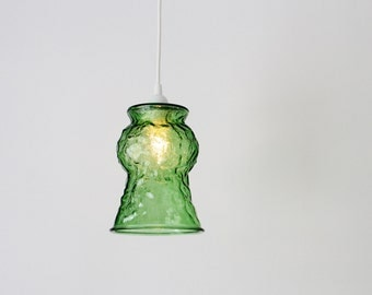 Pendant Light Featuring A Vintage Green E.O. Brody Crinkle Glass Vase Shade, Chic Upcyled Hanging Pendant Lamp, BootsNGus Lighting & Decor