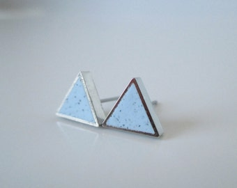 baby blue granite small RHODIUM plate triangle stud earrings