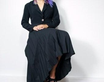 Black Skirt Maxi Skirt Vintage Black Skirt Long Twirl Skirt Rayon Black Boho Midi Skirt Size 10