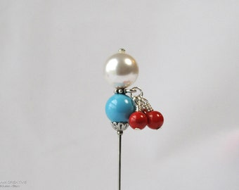 Swarovski Pearl Stick Pin, Southwest, Turquoise , Red Coral, Charm Pin, 3 Inch Pin, Hat Pin, Lapel Pin, Hijab Pin, Wedding Jewelry, H0267