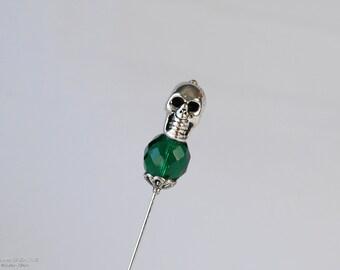 Silver Skull Stick Pin, Silver Tone, Green Emerald Czech Glass, Lapel Pin, Scarf Pin, S0108
