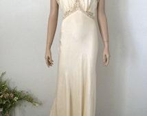 Moonlight Ivory Fischer Bias Cut Silk Nightgown...Vintage Wedding Lingerie...Bridal Wear...Honeymoon Lingerie