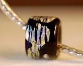 Large hole slider ring raku lampwork rustic bead for leather bracelets, dog lead beads handmade glass ring beads, scarf slide and hair ties