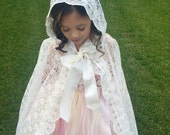 Fairytale Lace Cape in Ivory, Wedding Cape, Hooded Cape