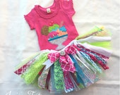 Summertime Ice Cream Shabby Tu, Fabric Tutu, Birthday Tutu, Hot Pink, Shabby Chic, Bright, Neon, Party